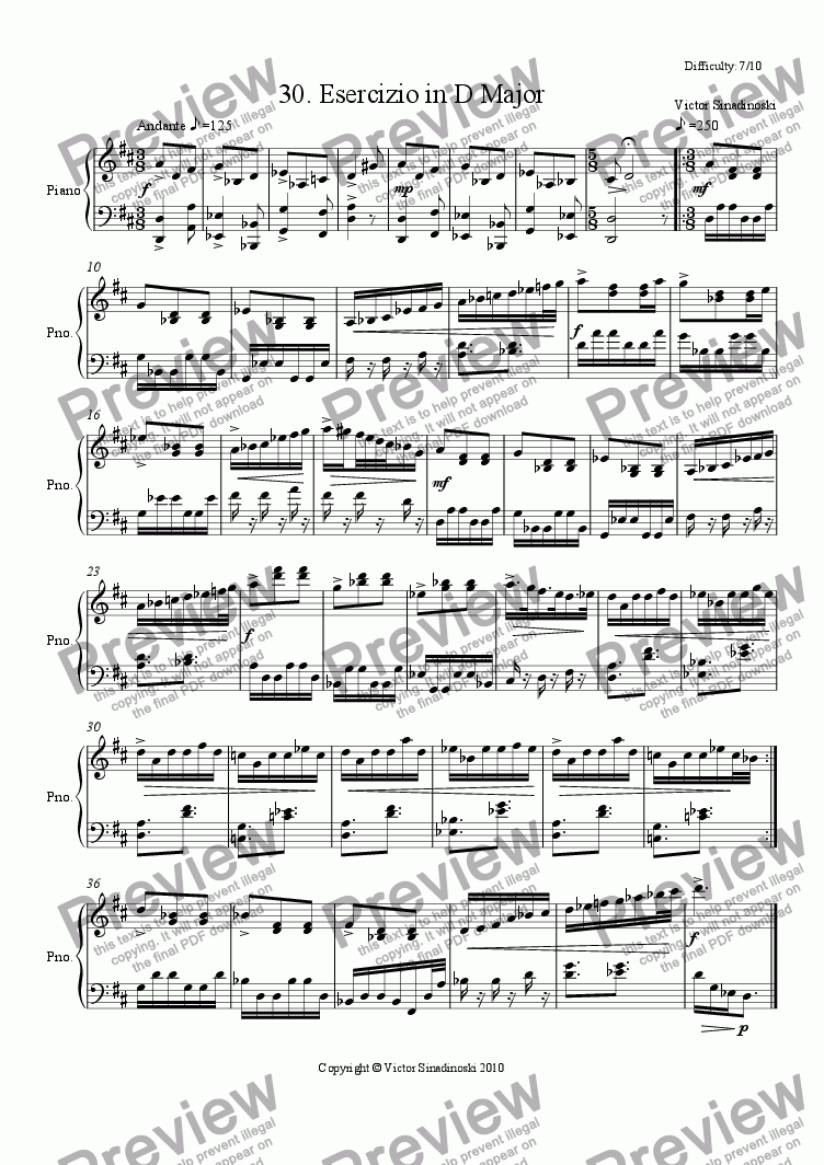 page one of Esercizio in D Major