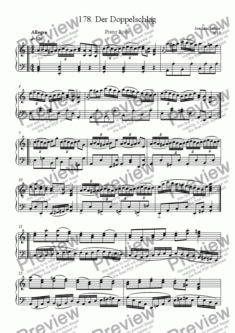 page one of Piano Book 178 (Der Doppelschlag)