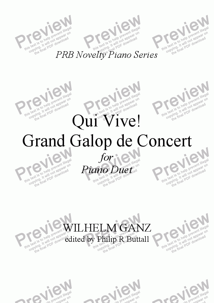page one of PRB Novelty Piano Series: Qui Vive! - Grand Galop de Concert [Four Hands]