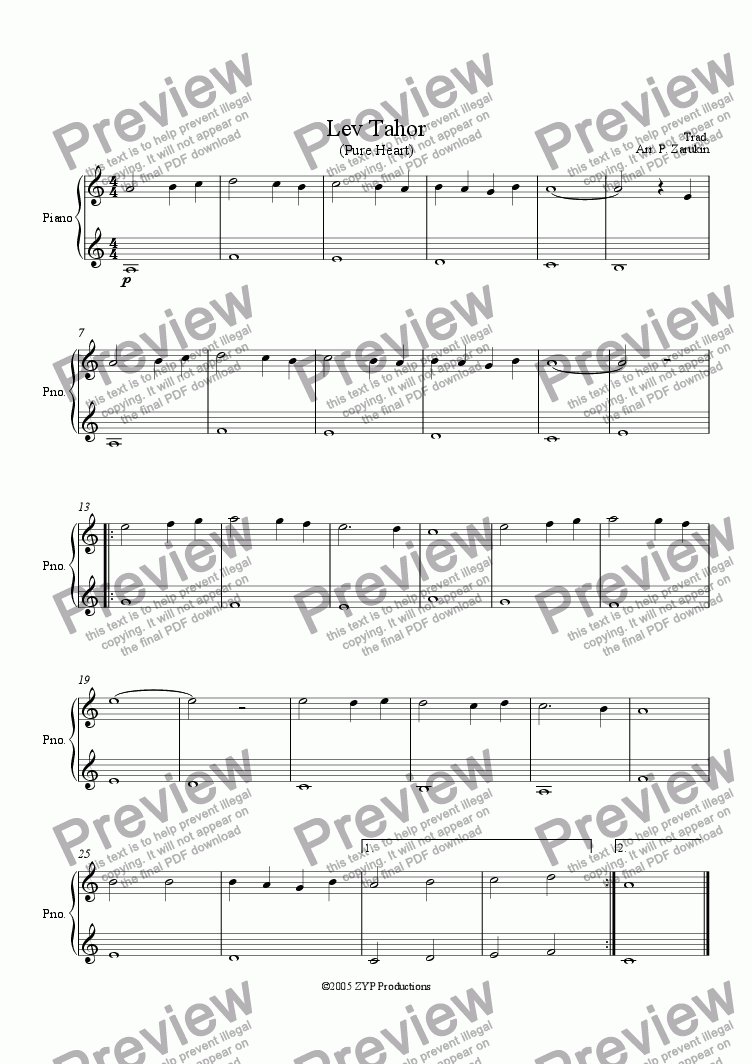 "page one of ""Lev Tahor"" (A Pure Heart) for piano beginner"