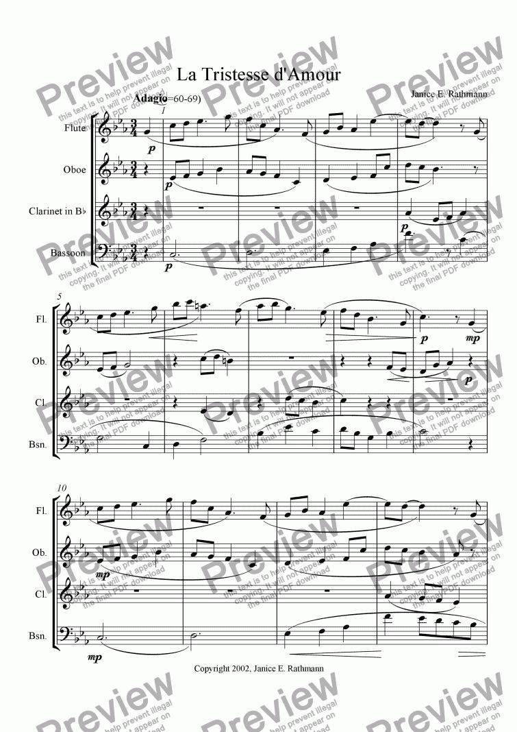 La Tristesse Damour Ww Quartet For Wind Quartet By Janice Rathmann Sheet Music Pdf File To Download
