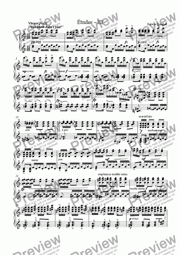 "page one of Etudes - III: ""You knew didn't you?"" [piano]"