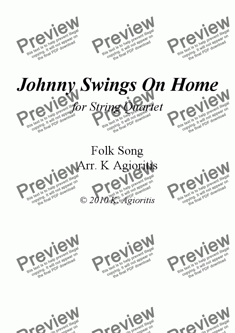 page one of Johnny Swings On Home - for String Quartet