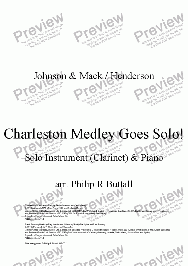 page one of Charleston Medley Goes Solo!