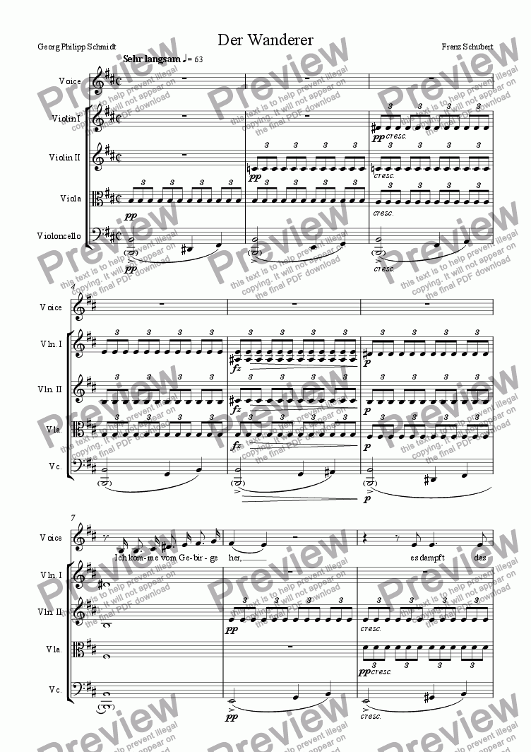 page one of Der Wanderer (arranged for voice and strings)