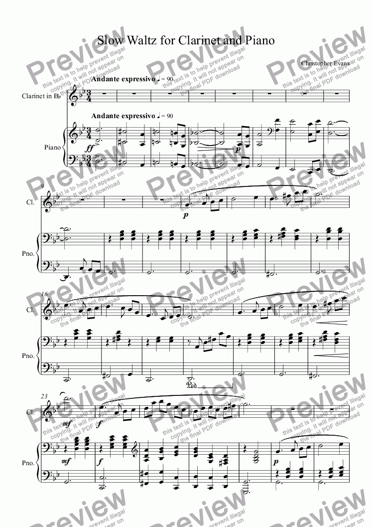 page one of Slow Waltz for Clarinet and Piano