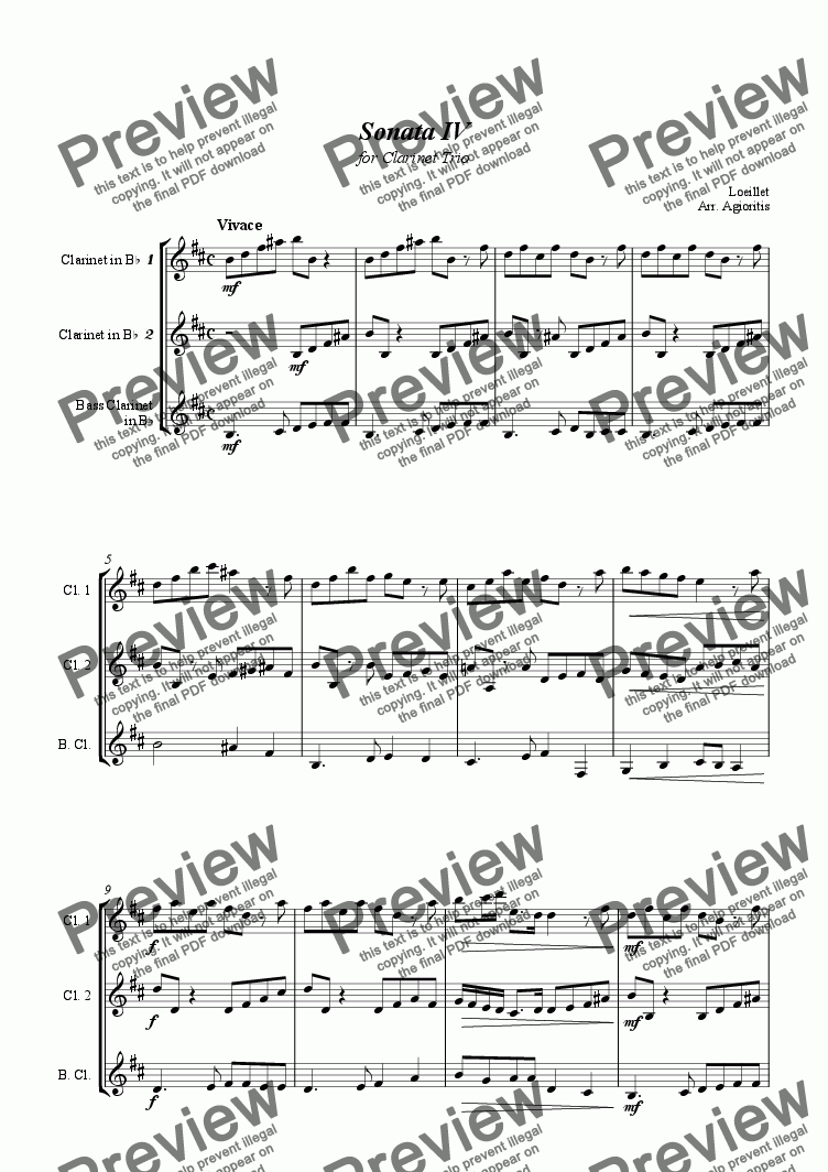 page one of Sonata IV - for Clarinet Trio