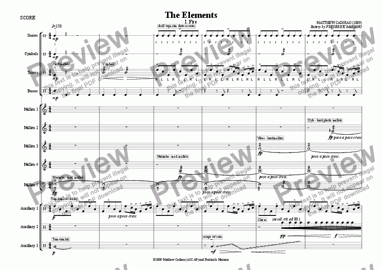 The Elements (Percussion) - I  Fire for Percussion ensemble by Matt Cadirao  - Sheet Music PDF file to download