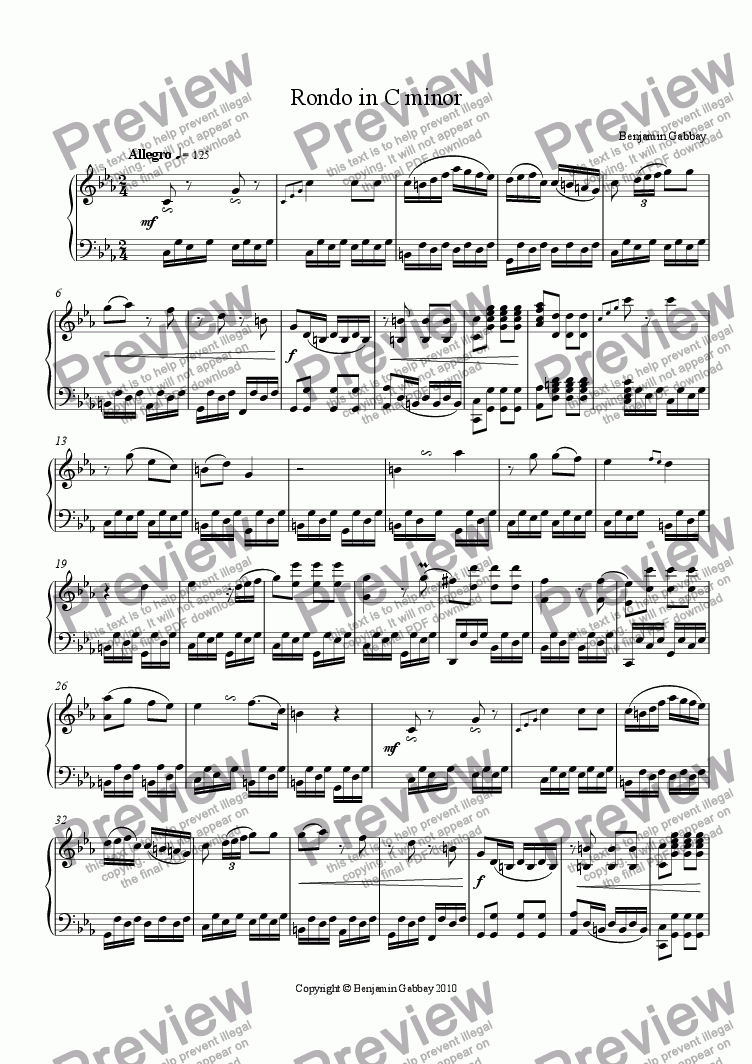 page one of Rondo in C minor