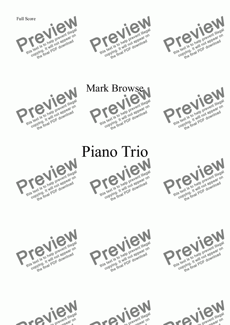page one of Piano Trio - first movement