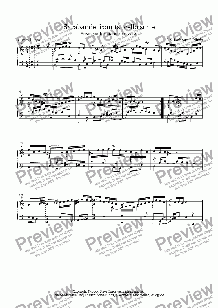 page one of Bach 1st Cello Suite - Sarabande, arranged for piano