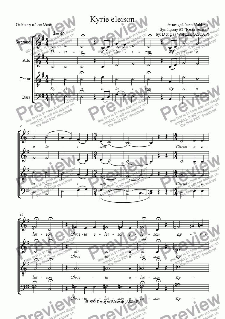 page one of Kyrie eleison