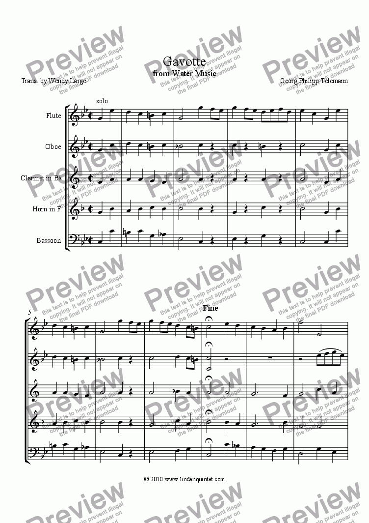 page one of Telemann - Water Music Suite - Gavotte & Bourree