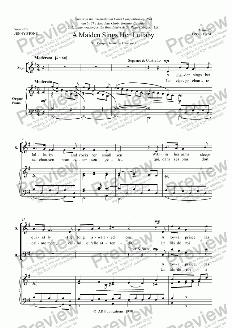 page one of Carol: A Maiden Sings Her Lullaby  (SATB & Organ)