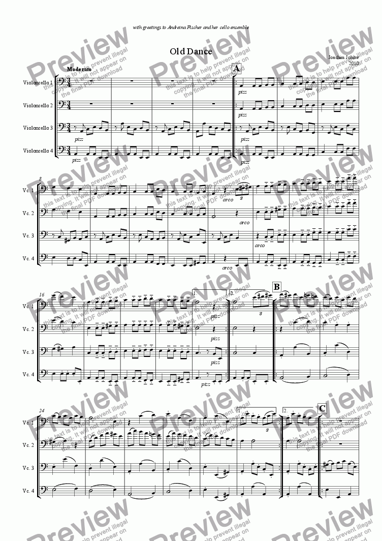 page one of Cello Quartett 01  (old dance)