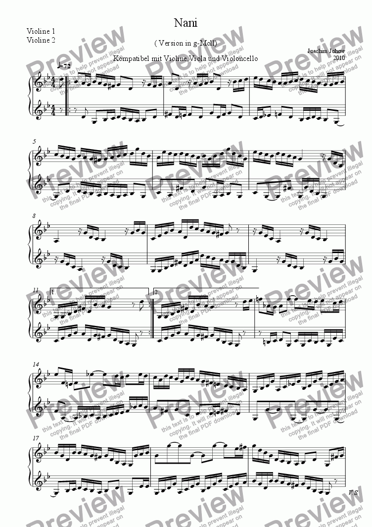 page one of Violin Duet Nani (in g-minor)
