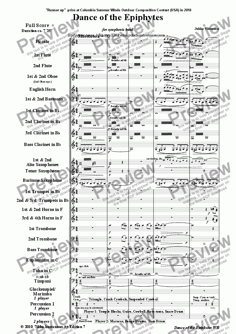 page one of Danceof the Epiphytes (symphonic band)
