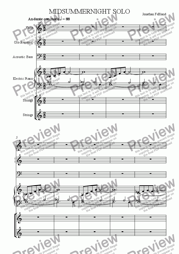 page one of Midsummernight Solo (ens.)