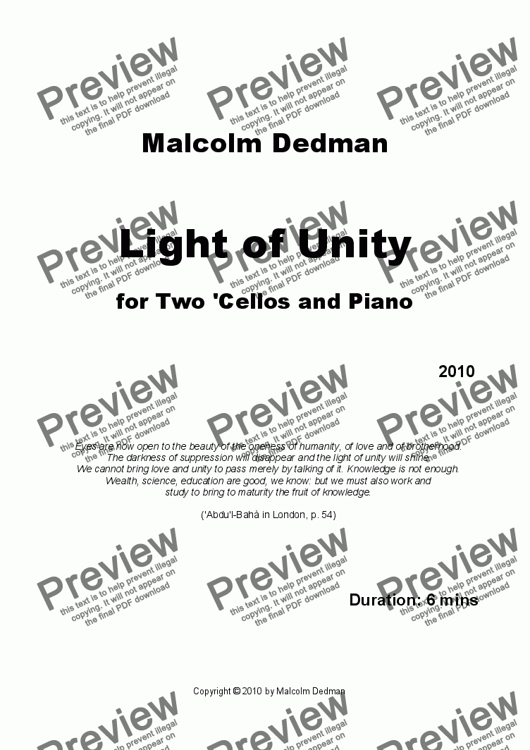 page one of Light of Unity