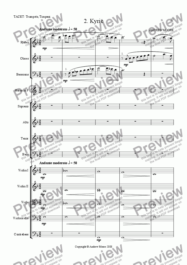 page one of Requiem,  2. Kyrie
