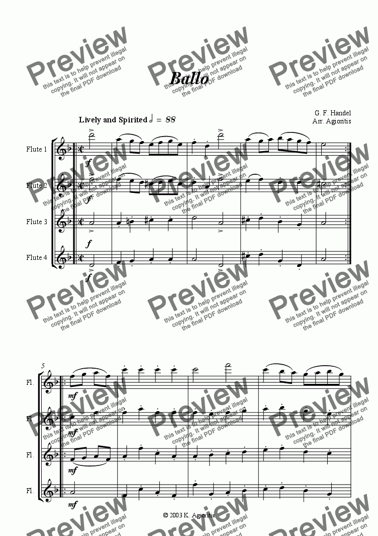 page one of Ballo - for Flute Quartet