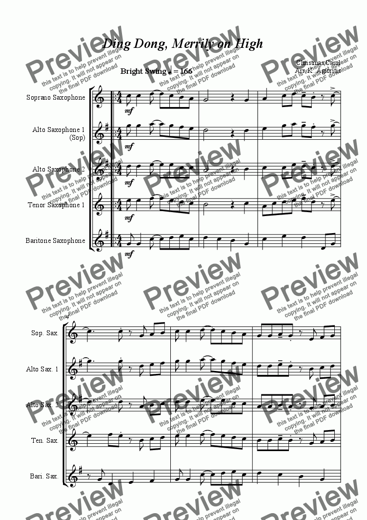 page one of Ding Dong Merrily On High - Jazz Carol for Saxophone Quartet