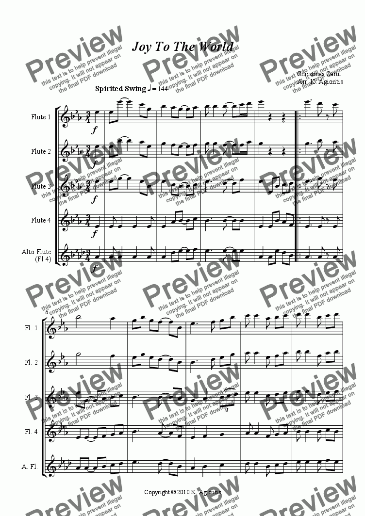 page one of Joy To The World - Jazz Carol for Flute QuartetASALTTEXT