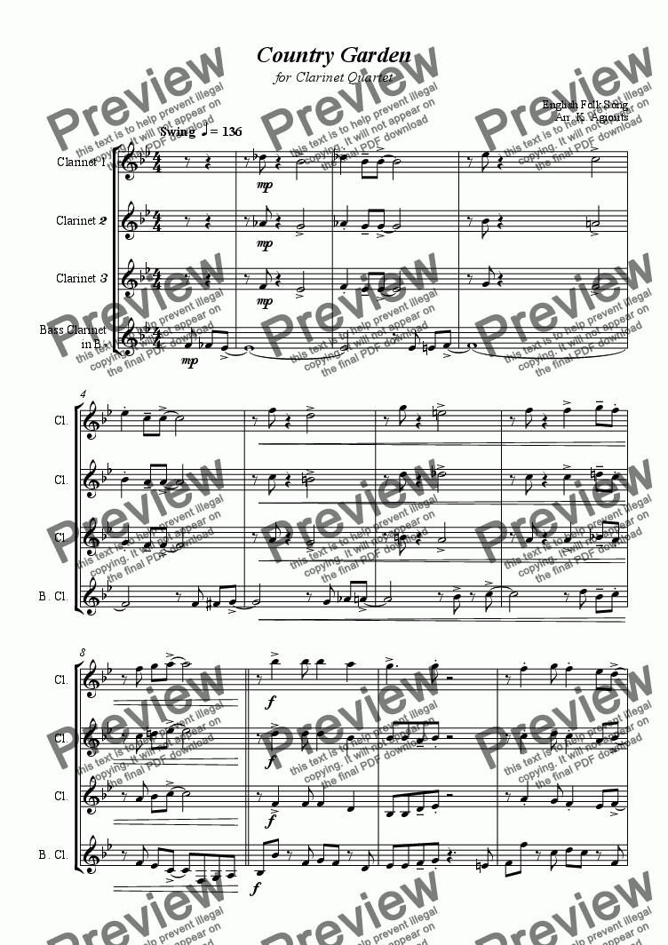 page one of Country Garden - for Clarinet Quartet