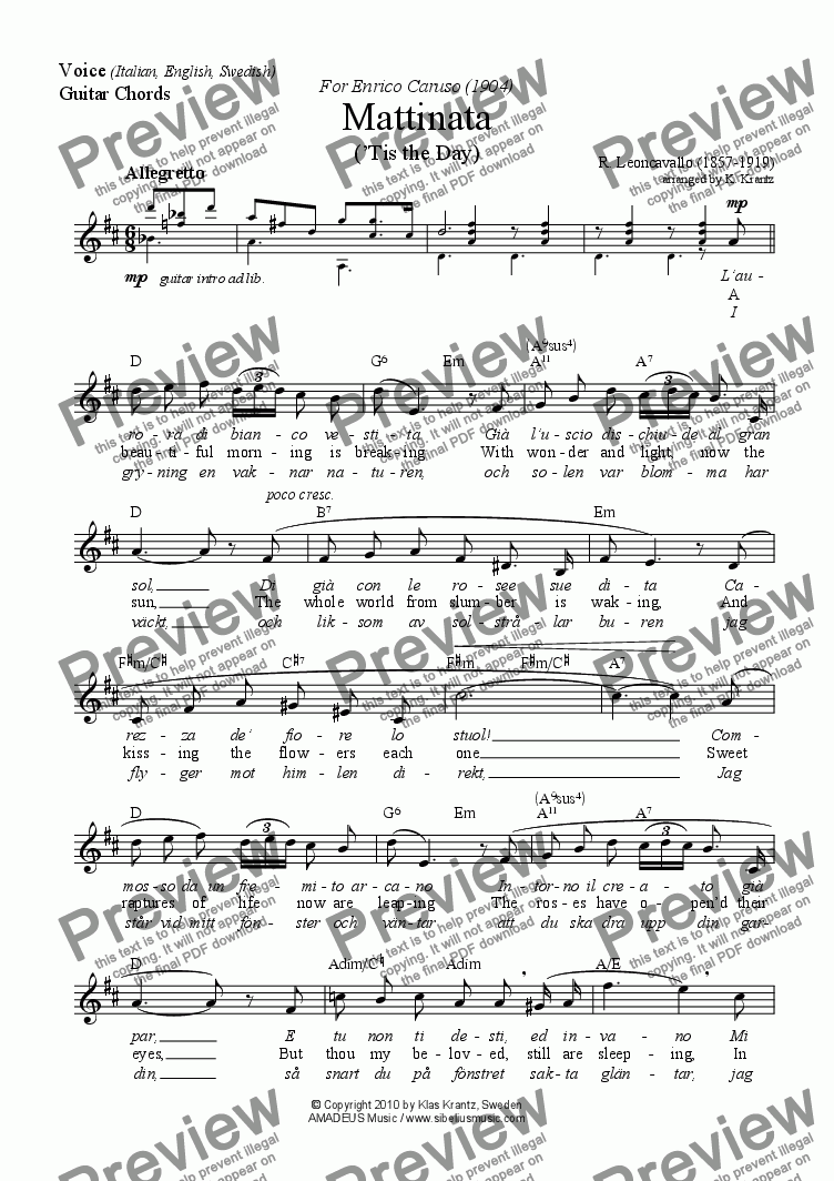 Mattinata For Voice And Guitar Chords Worksheet Download Pdf File