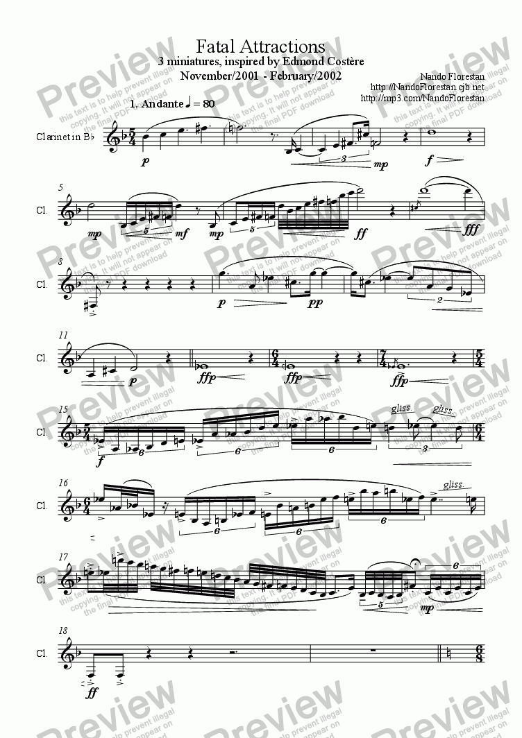 page one of Fatal Attractions (solo clarinet)ASALTTEXT