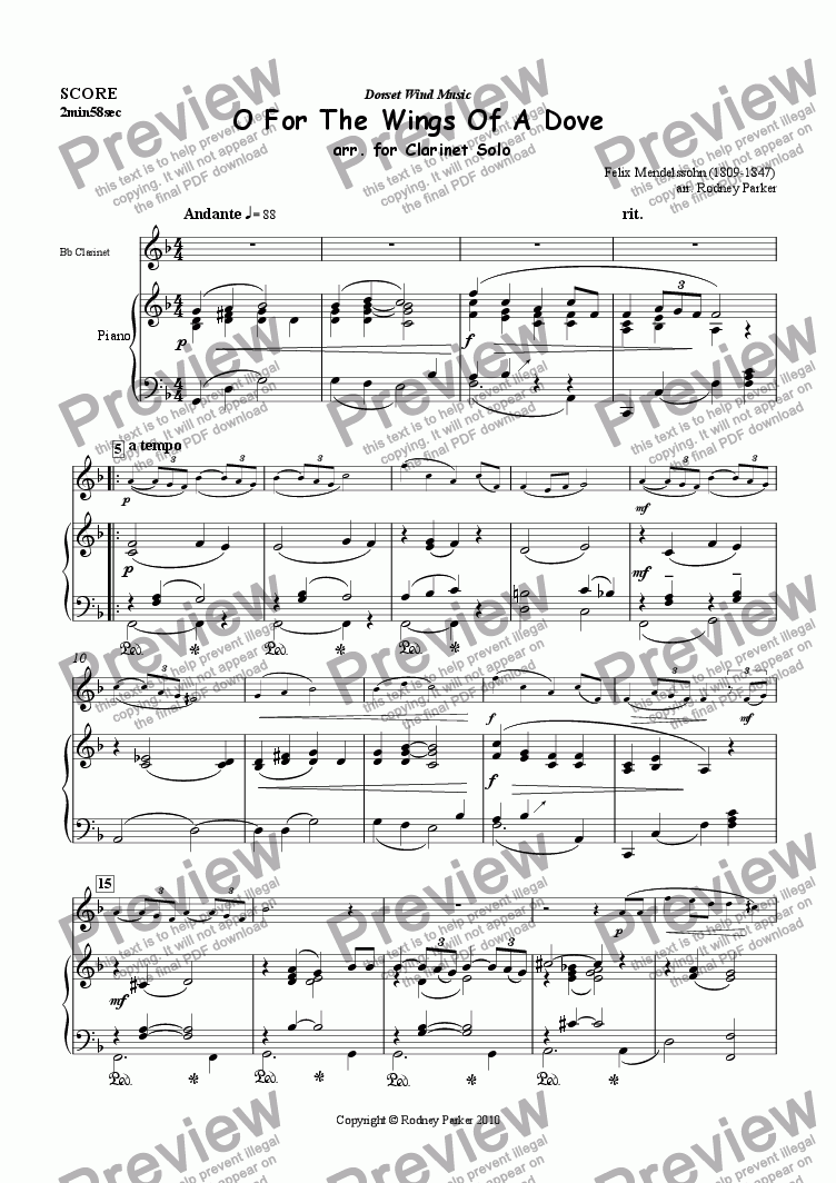 page one of O For The Wings Of A Dove arr. for clarinet solo