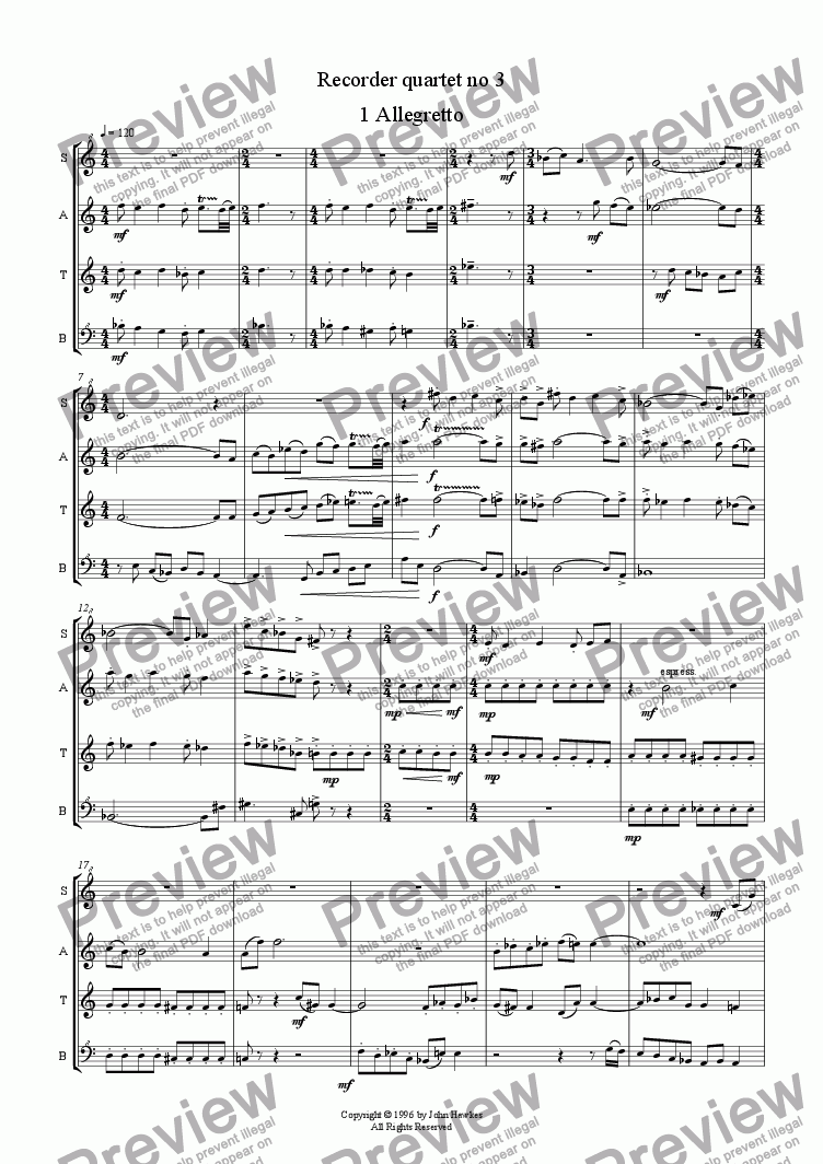 page one of Recorder quartet no 3