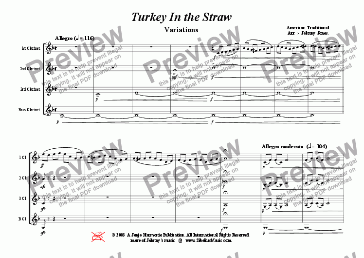 page one of Turkey In the Straw  ( Variations, Clarinet Quartet )