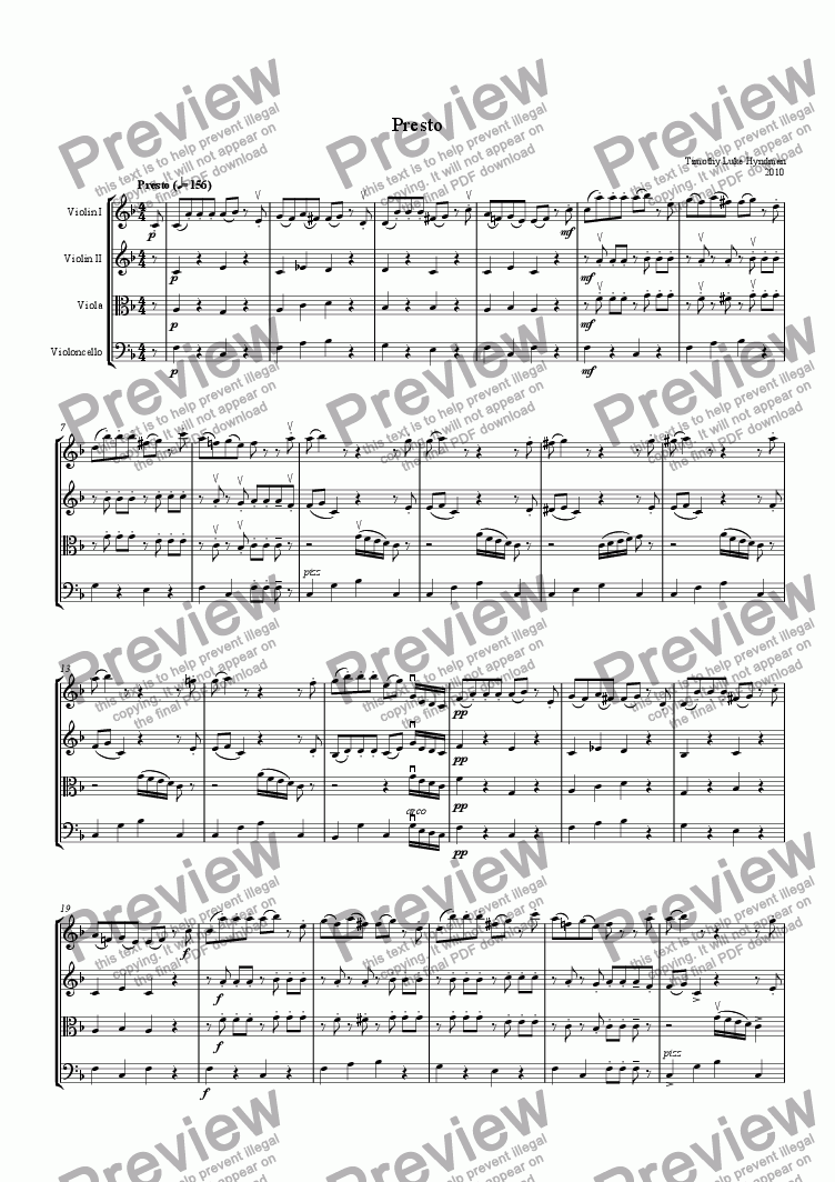 page one of Presto in F Major