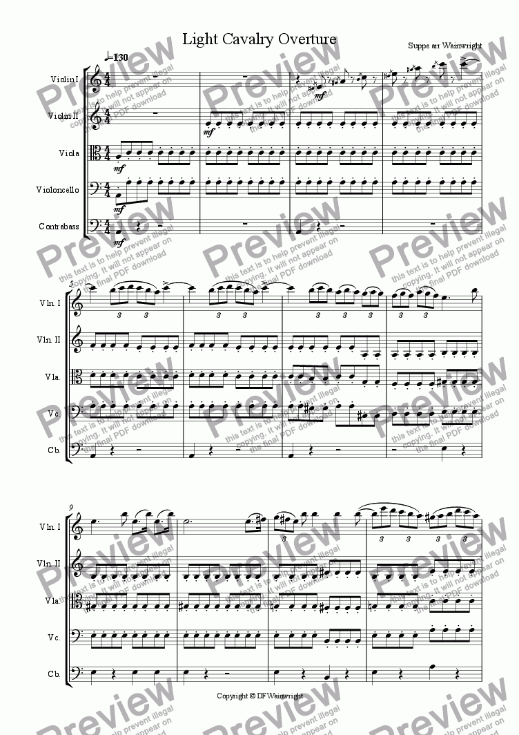 page one of Light Cavalry Overture