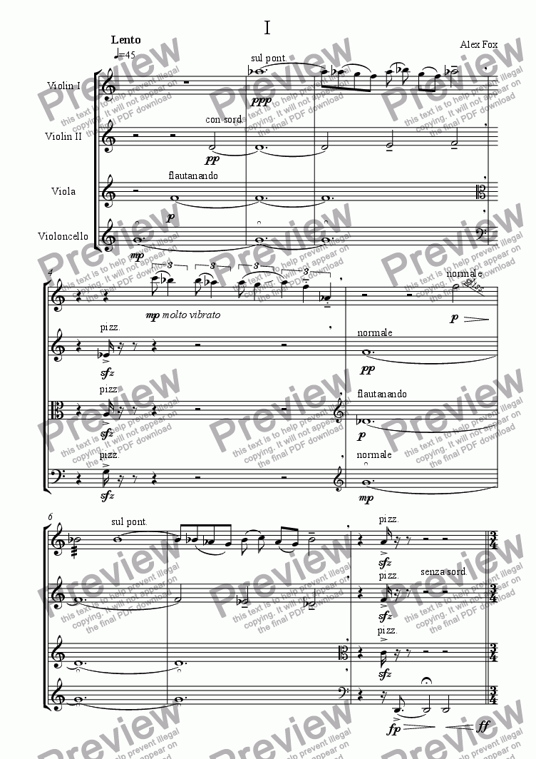 page one of String Quartet No1
