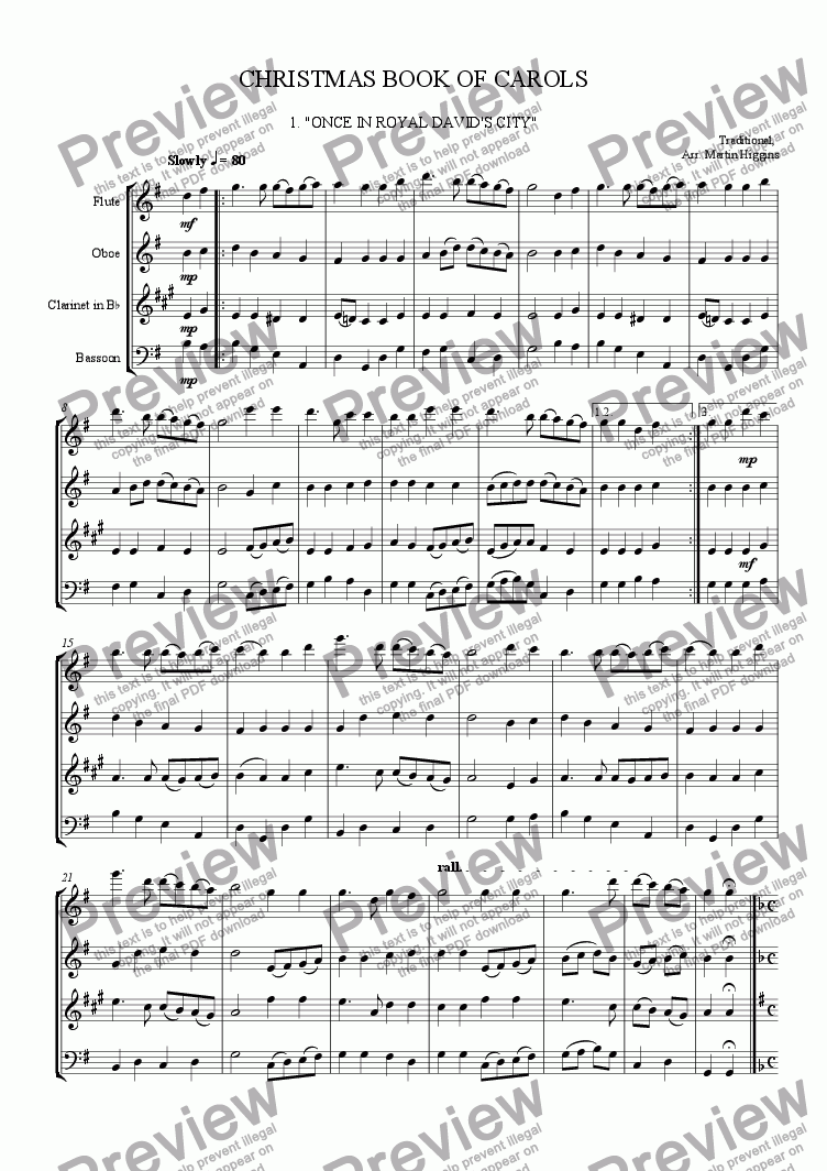 page one of Christmas Book of Carols (Woodwind Quartet) (2010)