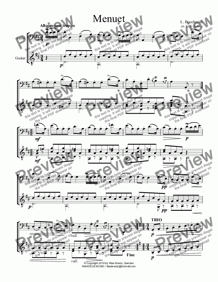 page one of Menuet (Minuet) for violoncello and guitar