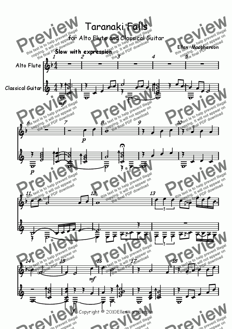 "page one of ""Taranaki Falls"" for Alto Flute and Classical Guitar"