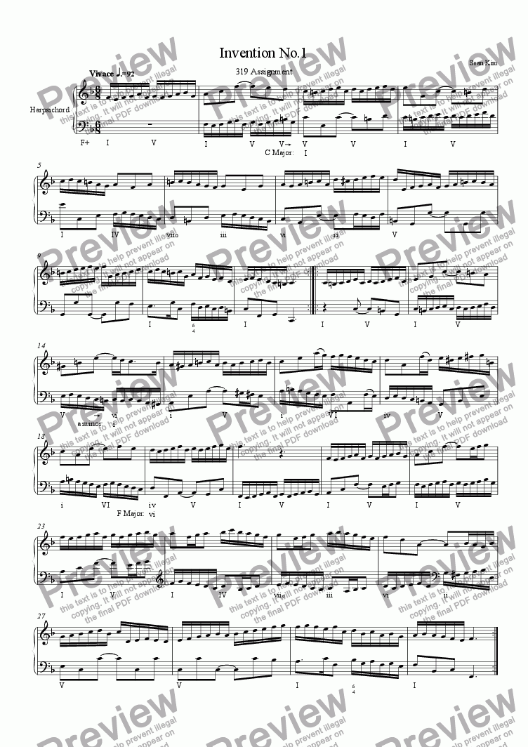page one of Invention in F Major