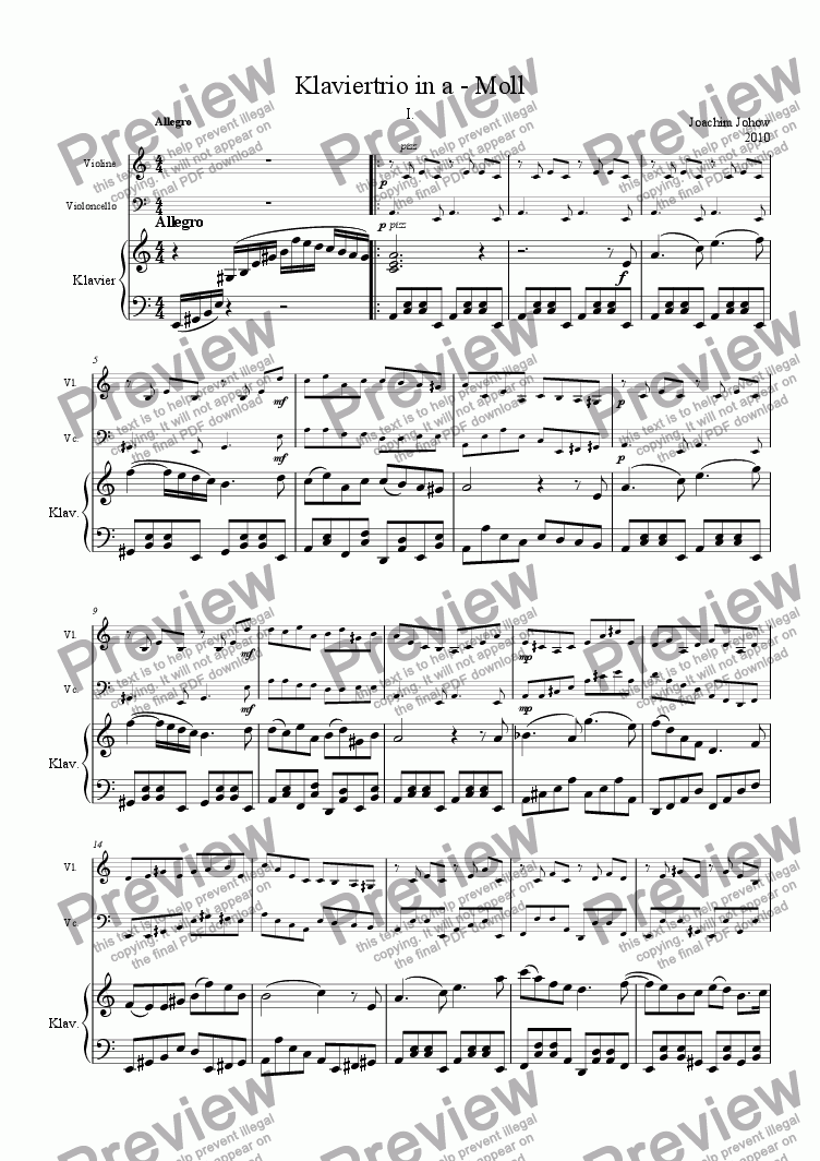 page one of Piano trio in a minor 1 movement