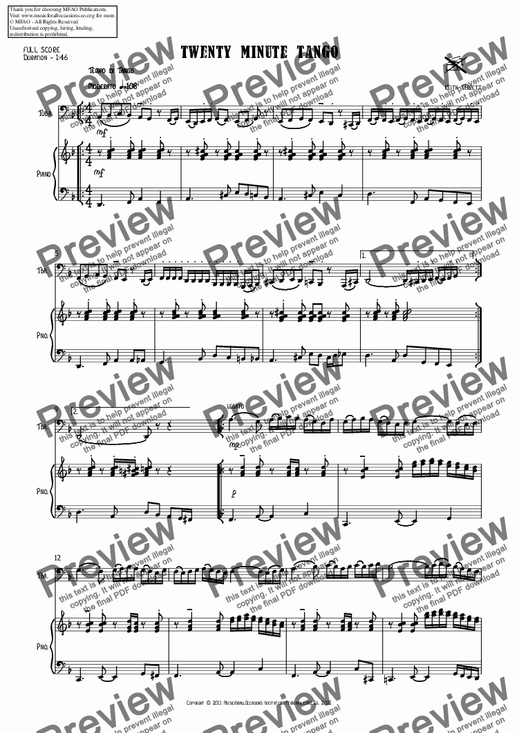 page one of Twenty Minute Tango for C Tuba & Piano