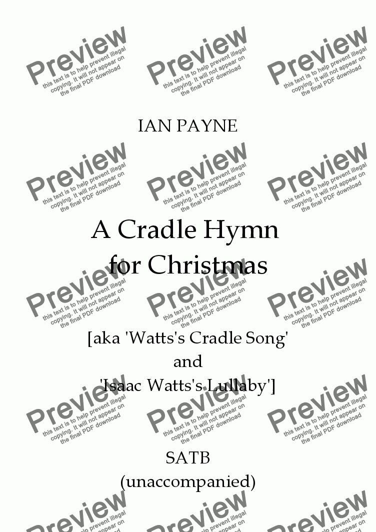 page one of A Cradle Hymn for Christmas