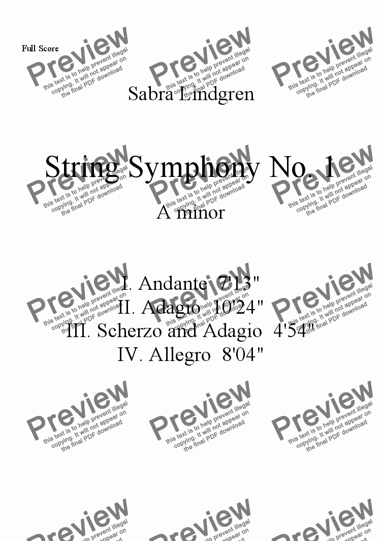 page one of String Symphony No. 1 in A minor, IV. Allegro