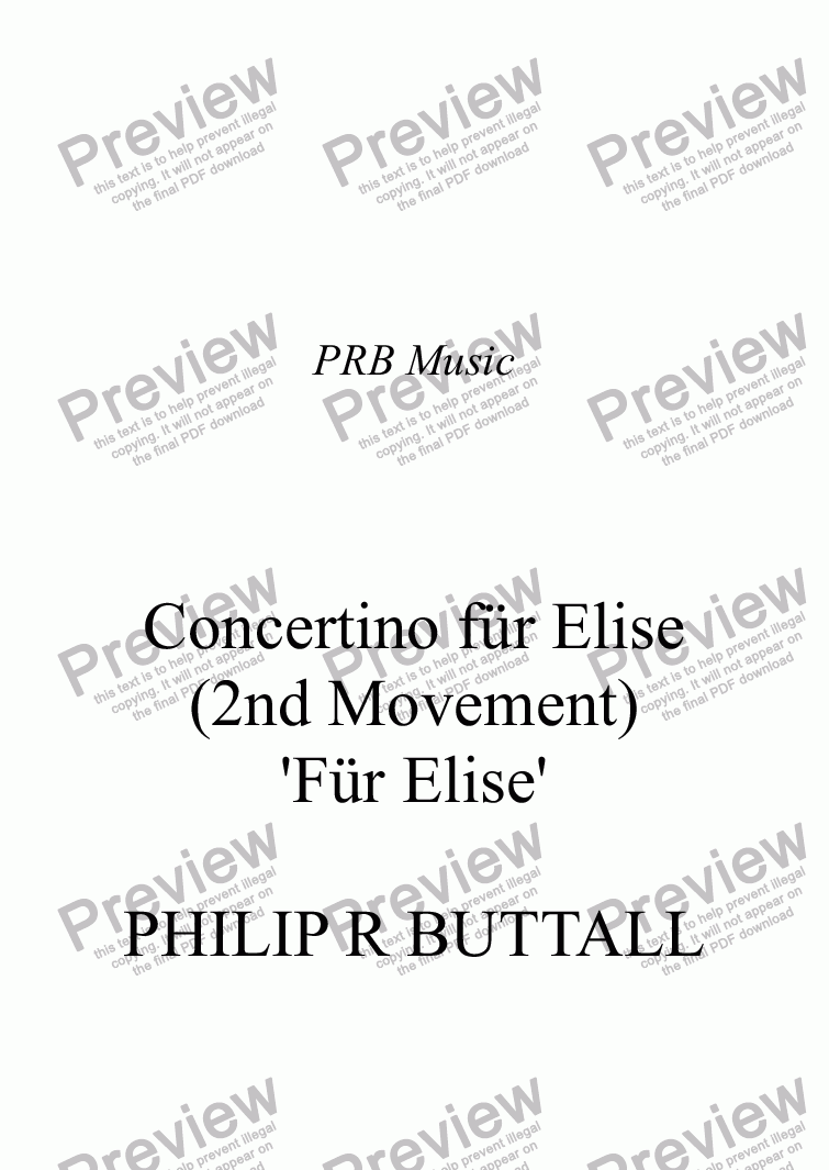 page one of Concertino for Elise (2nd movement only)ASALTTEXT