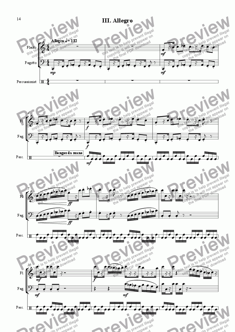 page one of Trio for flute, bassoon and percussionist III.ASALTTEXT