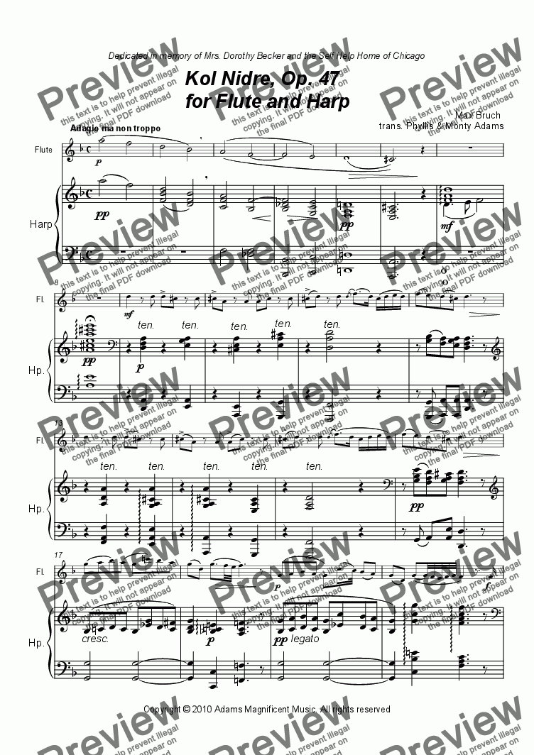 page one of Kol Nidre, Op. 47   for Flute and Harp