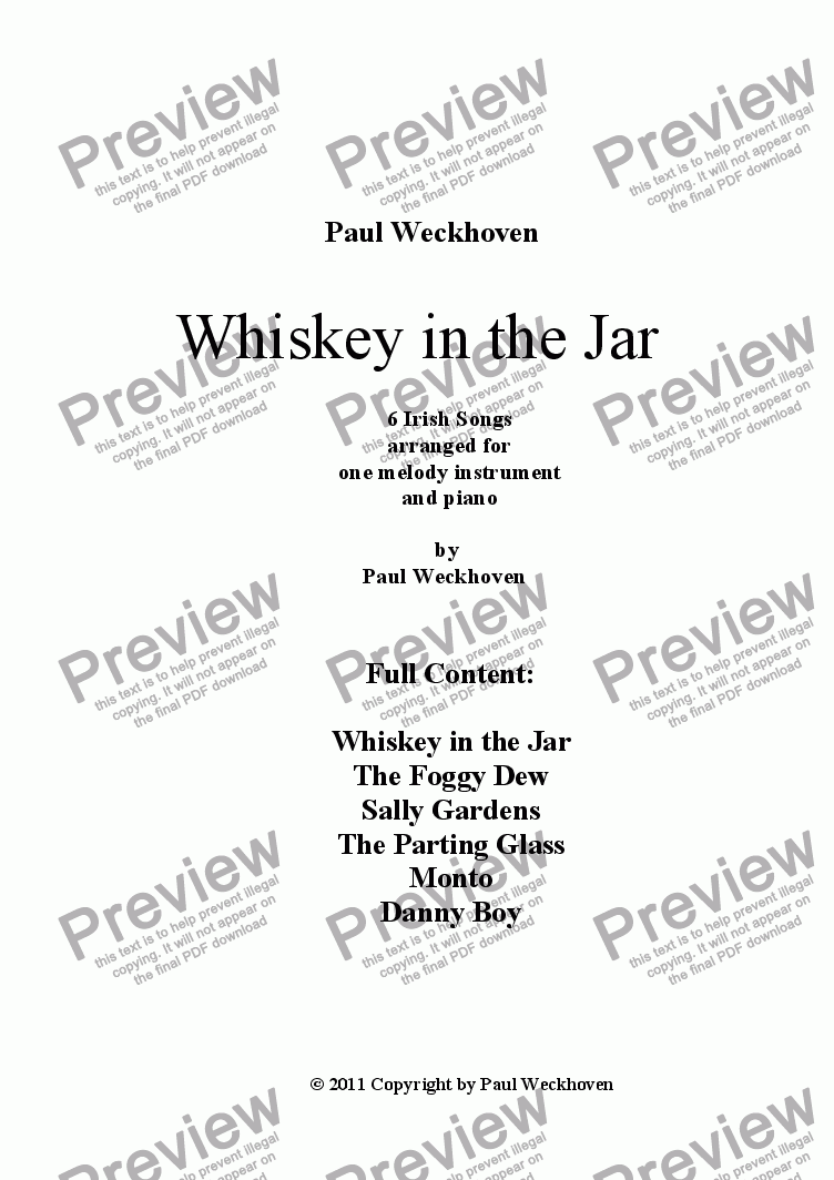 page one of Whiskey in the Jar - an arrangement of 6 very famous Irish Tunes for Recorder and Piano