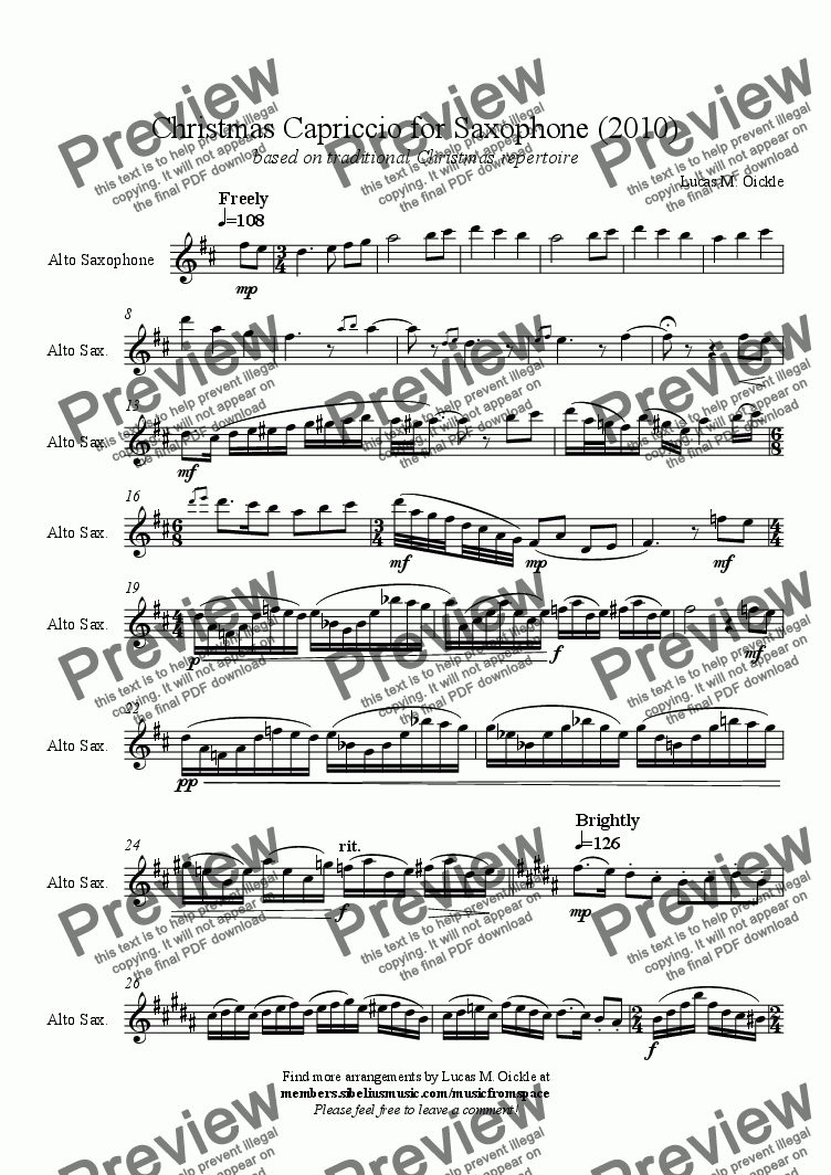 page one of Christmas Capriccio for Saxophone (2010)