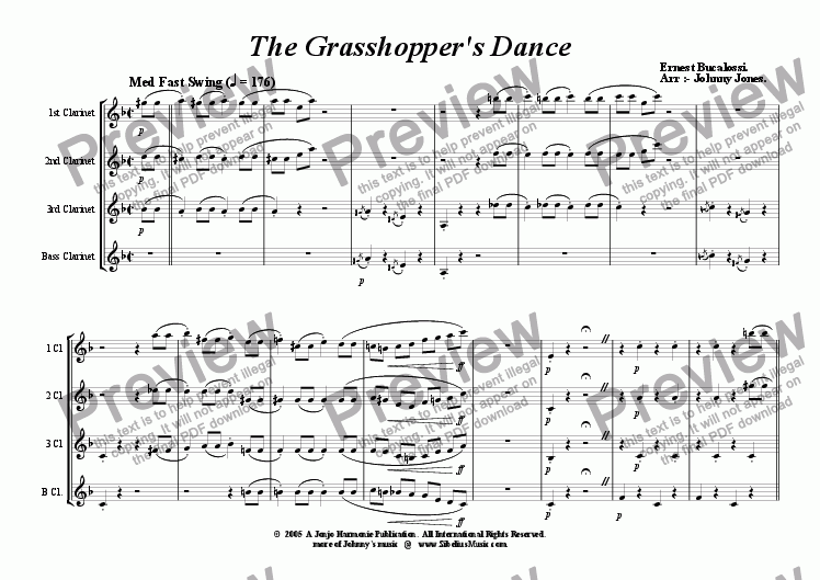 page one of Grasshopper's Dance The  ( Clarinet Quartet,  Easy Swing )